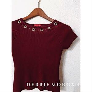 Debbie Morgan grommet ribbed crop top